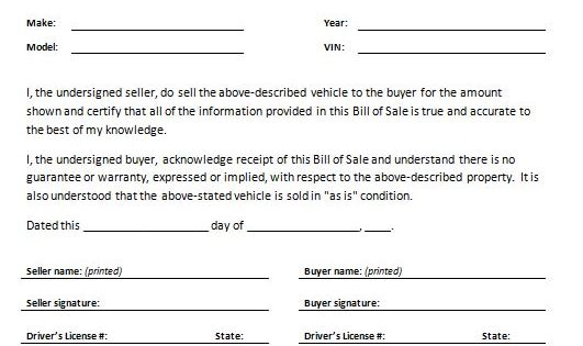 Printable Sample Auto Bill Of Sale Form  Legal Document Online