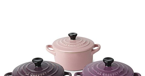 LE CREUSET Stoneware petite casserole dishes trio purple