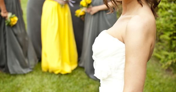 Maid of honor in an accent color. Very cute! photography copyright Scott