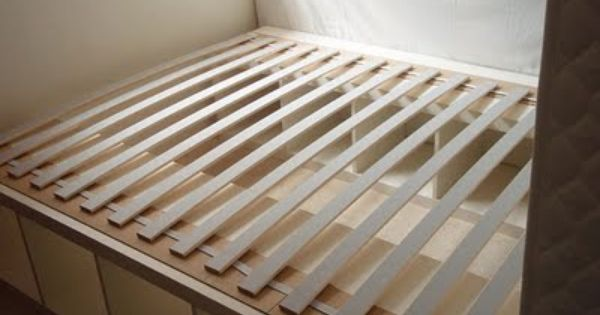 Expedit Bedframe Repurposed bookshelf as bedframe for