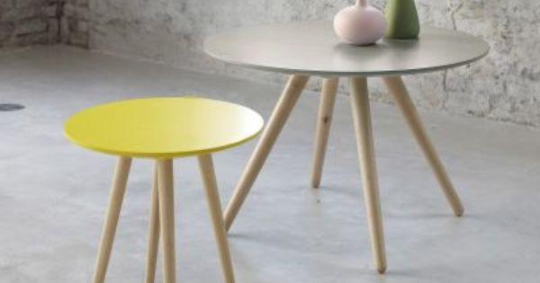 Table Basse Ronde Bicolore Bout De Canape Pin S 3 Suisses Decoracao Ideias De Projetos Lar
