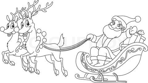 Santa And His Sleigh Coloring Pages Stock Vector Of Outlined
