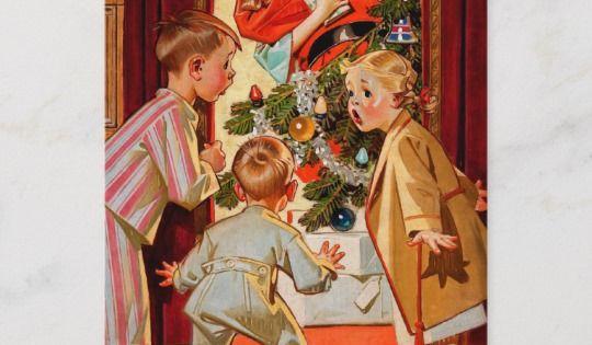 Mom Kisses Santa Claus Holiday Postcard Zazzle Com Christmas Scene Holiday Postcards Vintage Christmas