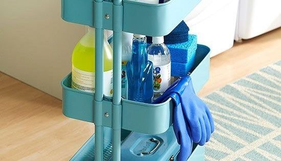 Use the RÅSKOG for cleaning supplies that you can wheel from room