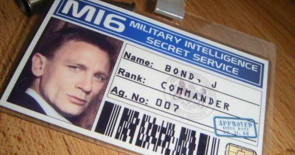James Bond 007 Party Secret Agent Spy Mi6 Id Card Badge Id Card Template Card Template James Bond Party