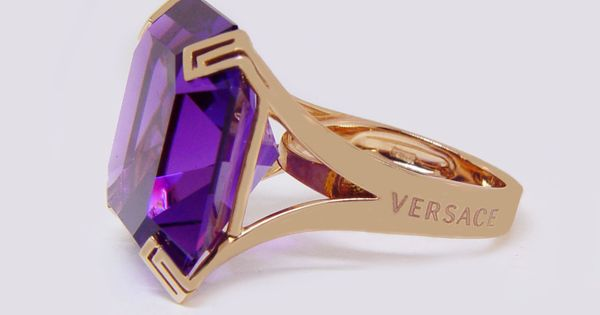Versace - Dafne Collection 18kt Rose Gold Amethyst Ring
