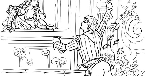 Romeo And Juliet Balcony Scene Coloring Page Romeo And Juliet Balcony Coloring Page