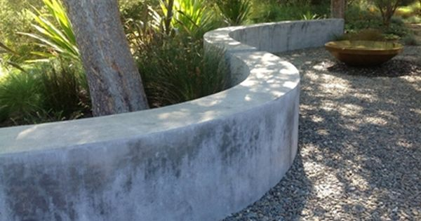 Curving Concrete Seating Wall