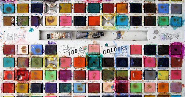 A vintage watercolor tin of 100 colours. color palette vibrant