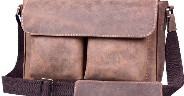 Vintage Crazy Horse Leather Messenger Bag