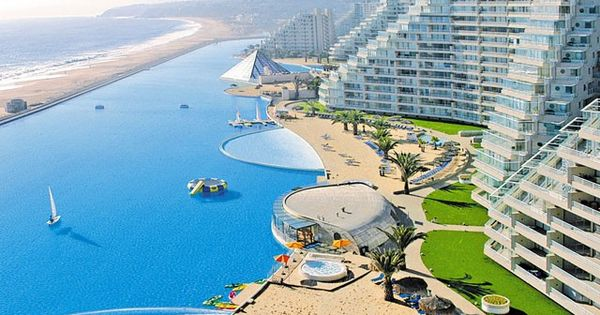 World's largest outdoor pool The Crystal Lagoon, located at the San Alfonso