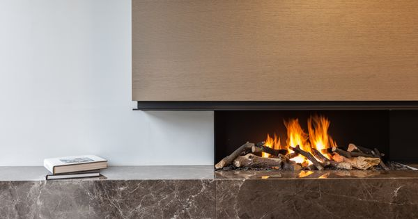 P Fireplace With Emperador Marble Metal Hood P