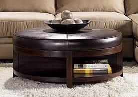 Round Leather Ottoman Coffee Table 1