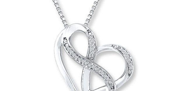 Double Heart Infinity Blue and White Diamond Pendant 1//10 CTW 16 Diamonds