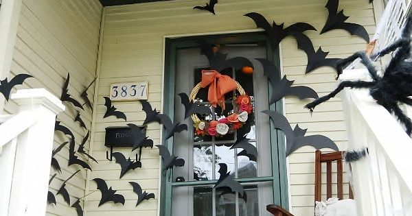 Halloween Porch! bats on door.... This is Happening.
