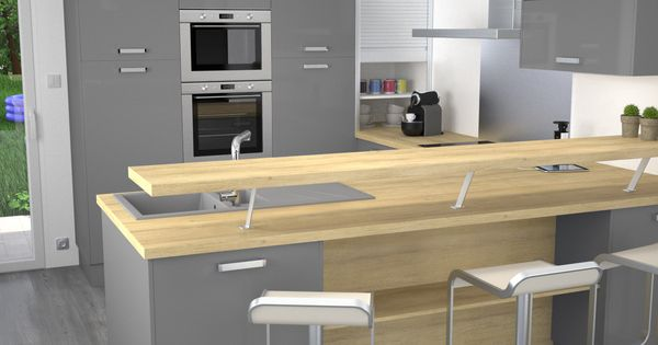 Cuisine Grise Moderne Facade Stecia Gris Brillant Design Collations Et Cuisine
