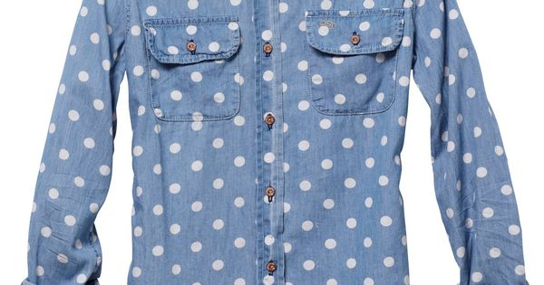 polka dot chambray shirt