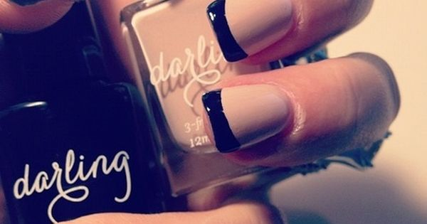 Nude black nails nailart frenchmanicure