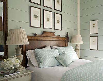 Painted wood walls in a guest room. Southern Living ideas.
