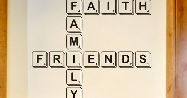Living room wall decal scrabble letters faith family for Living room 6 letters
