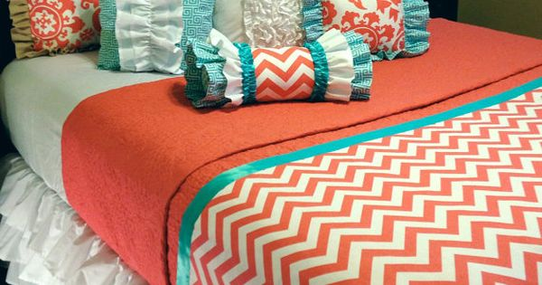 Coral Chevron Custom Bedding For Your College Dorm Room