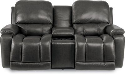 Leather Reclining Loveseat W Console