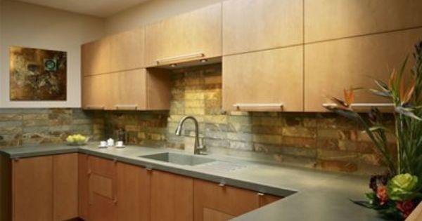 Concrete Countertops With Images Beadboard Backsplash Kitchen