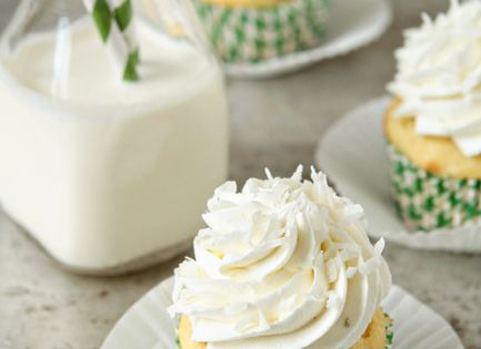 Coconut Cupcakes with Lime Buttercream Cupcakes: 1 (18 ounce) box French Vanilla