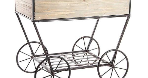 Carro de madera y metal para plantas natural largo 80 for Carros de madera para jardin