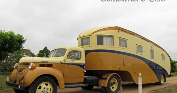 Vintage trailer & truck. Not a stealthy way to camp, but who