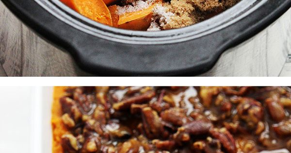 Creamy sweet potato casserole with a crunchy candied pecan topping and toasted