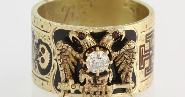 1800s 35ct Antique Diamond Scottish Rite Ring 14k 18k