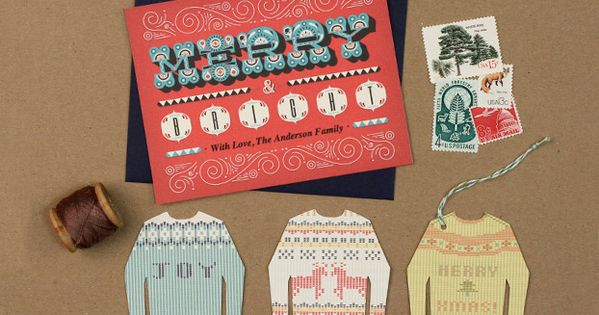 Free printable Christmas Card & 'Ugly Sweater' tags