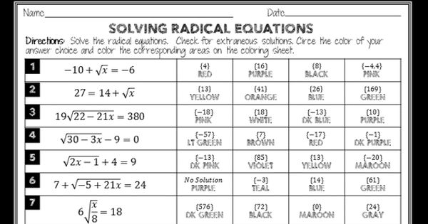 Fun Coloring Activity To Review Solving Radical Equations There Are 20 Radical Equations Which Become Progres Radical Equations Teaching Algebra Teaching Math Solving radical equations worksheet