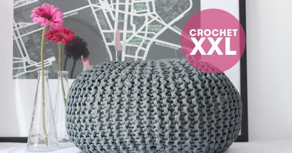 Tutorial Crochet Xxl : puff crochet xxl Crochet Pinterest Trapillo, Patrones and Cool ...