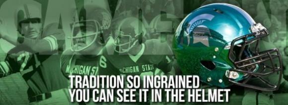 New Michigan State Football Helmet 570x210 Jpeg 580 213 Michigan State Spartans Football Michigan State Football Michigan State University