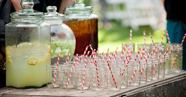 Outdoor wedding with cool refreshing drinks ~ plus the signature mason jars
