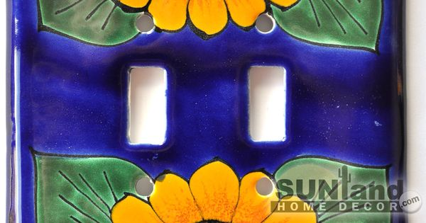 Talavera Ceramic Switch Plate Sunflower Double