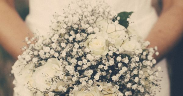 Gypsophilia and white roses wedding bouquet. I Got You Babe Wedding Photography. So simple but lovely
