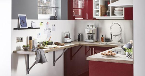 Meuble de cuisine rouge delinia griotte meuble de for Deco cuisine urbaine