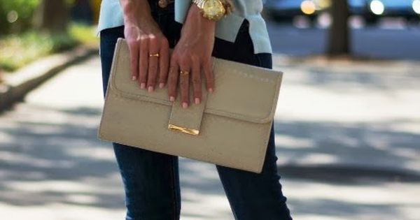 The Jewelry!! Adorable light blue blouse, golden necklace, jeans and high heels