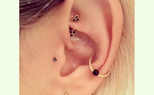 rook piercing, tragus piercing, conch piercing. Love the jewelry
