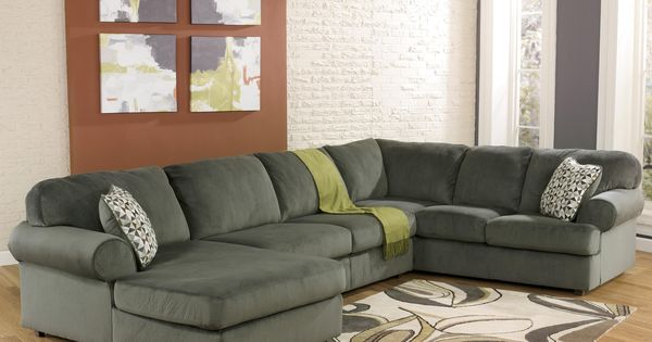 Jessa Place Pewter Sectional Sofa With Left Chaise By