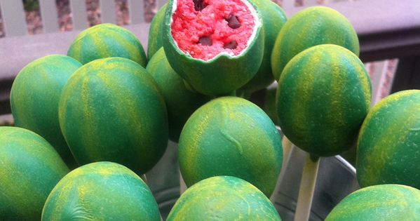 watermelon cake pops, watermelon party, summer party ideas