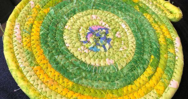 Medium size Green Batiks TrivetMug Ruglarge Coaster #107 Batik Cotton fabric wrapped coiled Clothesline
