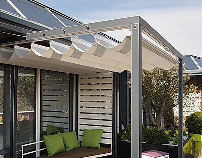 pergola en aluminium couverture coulissante en toile pergola velum microperfore polymobyl pour. Black Bedroom Furniture Sets. Home Design Ideas