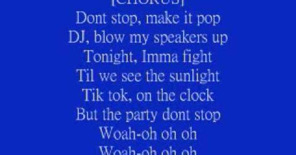 Tik Tok Ke Ha Lyrics With Images Feel Good Dance Music Ke Ha