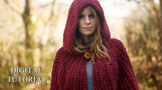 Free Crochet Pattern For Hooded Cape : CROCHET PATTERN Hooded Cape Pattern Crochet Cloak por ...