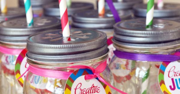 Rainbow Art- Creative juice tags/circles- Rainbow art party, art party, rainbow party.