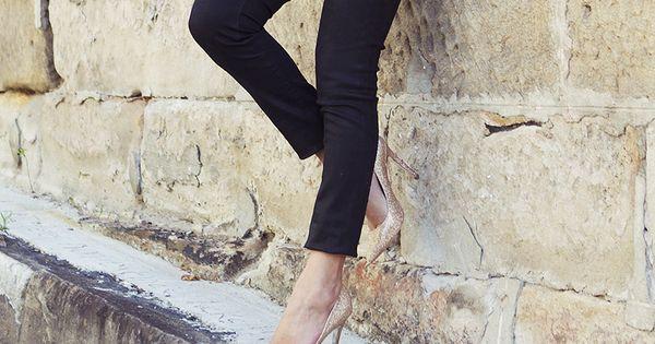 cropped pants + nude heels